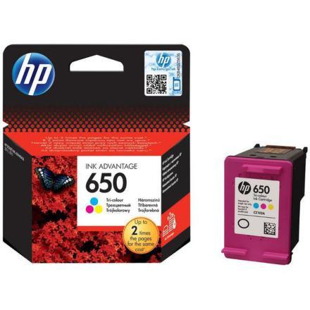 Inkoustová náplň HP No. 650, 200 stran originální - červená/modrá/žlutá