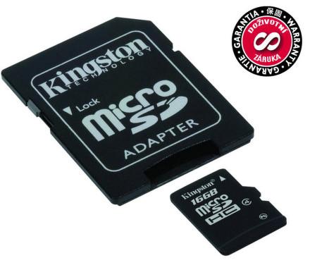 Kingston MicroSDHC 16GB Class4 + adaptér