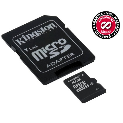 Kingston MicroSD 4GB, Class4 + adaptér
