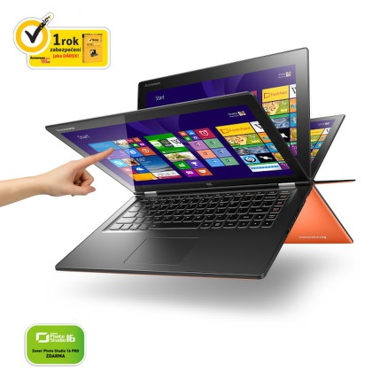 "Ntb Lenovo IdeaPad Yoga 2 13 Touch i5-4210U, 4GB, 8+500GB, 13.3"""", Intel HD, BT, CAM, Win 8.1 / Win10  - oranžový"