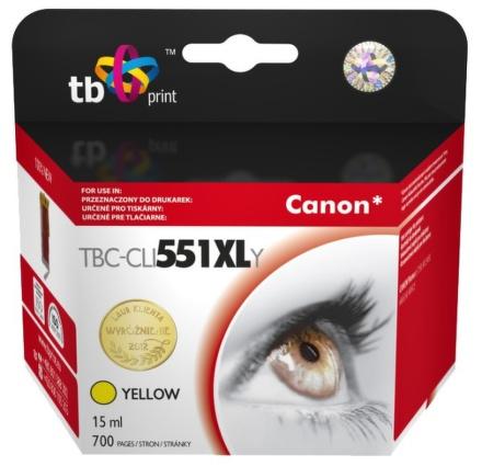 Inkoustová náplň TB Canon CLI-551XL kompatibilní - žlutá