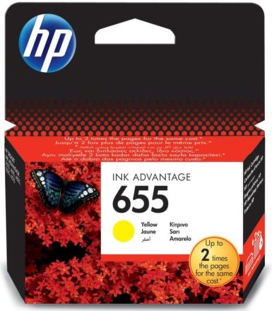 Inkoustová náplň HP No. 655, 600 stran originální - žlutá
