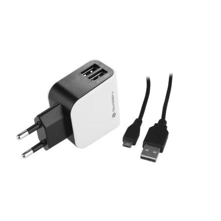 Nabíječka do sítě GoGEN ACH 201 C, 2x USB + microUSB kabel 1,2m - černá/bílá