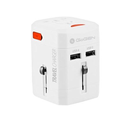 Cestovní adaptér GoGEN pro 150 zemí, 2x USB, bílý
