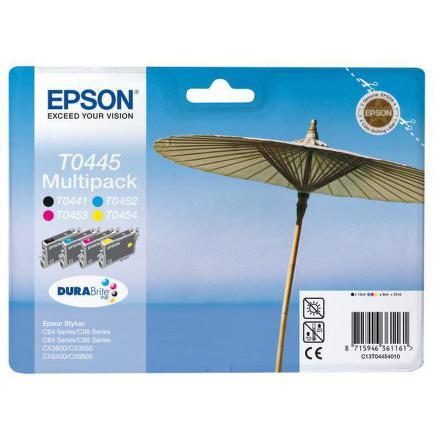 Inkoustová náplň Epson T0445, 4x 8ml originální - černá/červená/modrá/žlutá