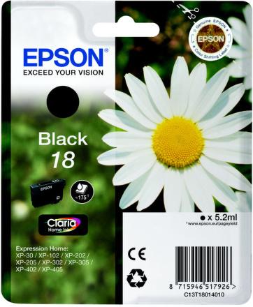 Inkoustová náplň Epson T1801, 175 stran originální - černá