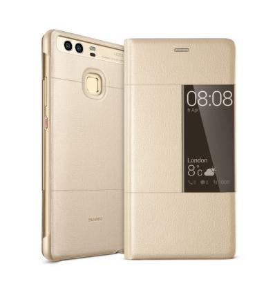 Pouzdro na mobil flipové Huawei Smart Cover pro P9 - zlaté