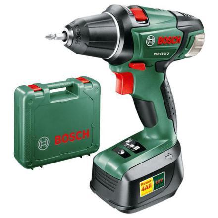 Vrtačka Aku Bosch PSR 18 LI-2, 2 aku Li-Ion
