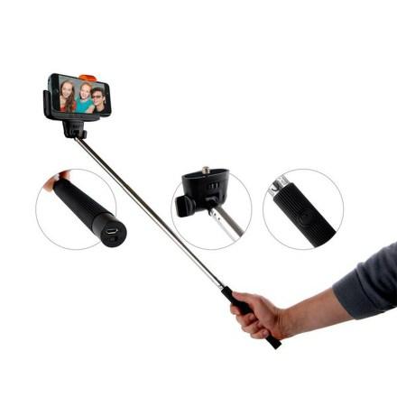 Selfie tyč GoGEN teleskopická, bluetooth spoušť na rukojeti - černá