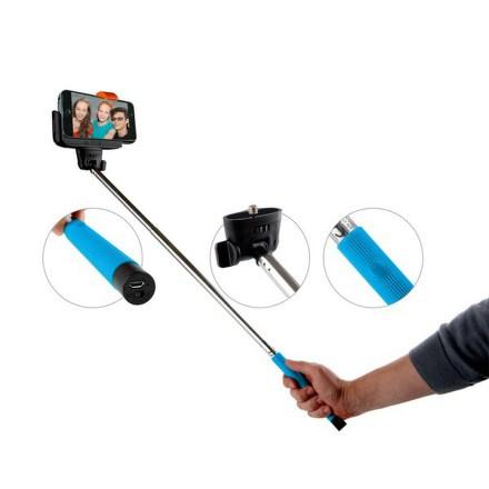 Selfie tyč GoGEN teleskopická, bluetooth spoušť na rukojeti - modrá