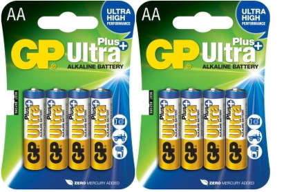 Baterie alkalická GP Ultra Plus AA, LR06, blistr 8ks