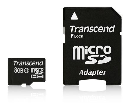 Transcend MicroSDHC 8GB class4 + adaptér