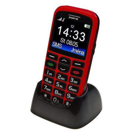 Mobilní telefon Aligator A680 + stojánek - červený