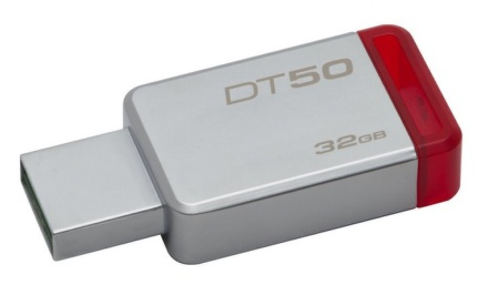 Flash USB Kingston DataTraveler 50 32GB USB 3.0 - červený/kovový