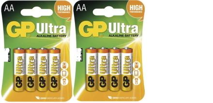 Baterie alkalická GP Ultra AA, LR06, blistr 8ks