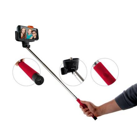 Selfie tyč GoGEN teleskopická, bluetooth spoušť na rukojeti - červená