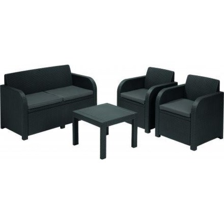 Ratanový nábytek Allibert Georgia antracit + šedé podušky