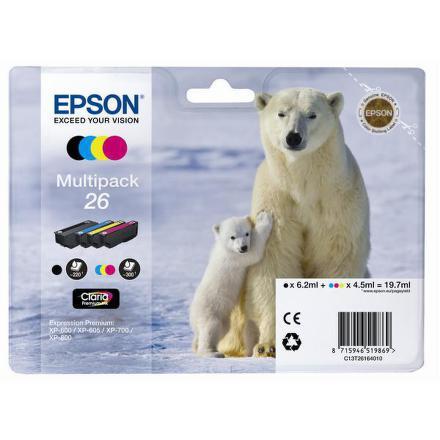 Inkoustová náplň Epson T2616, 6,2ml originální - černá/červená/modrá/žlutá