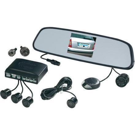 Parkovací systém Conrad bezdrátový videosystém v zrcátku, 4 parkovací senzory