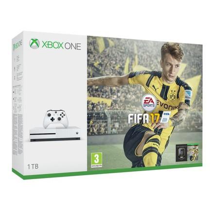 Herní konzole Microsoft Xbox One S 1 TB + FIFA 2017 - bílá
