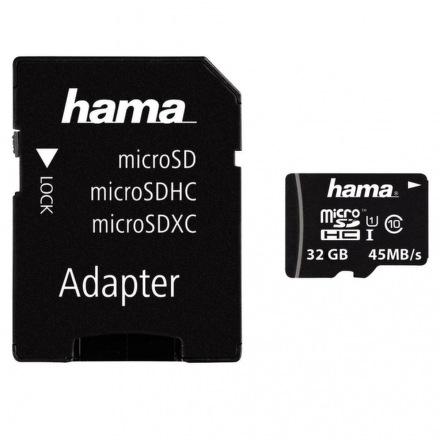 Hama microSDHC 32GB Class 10 UHS-I + adaptér