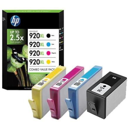 Inkoustová náplň HP No. 920XL, CMYK, 1200 stran originální - černá/červená/modrá/žlutá