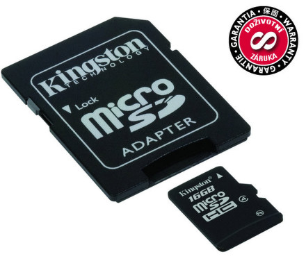 Kingston MicroSDHC 16GB Class4 + adaptér