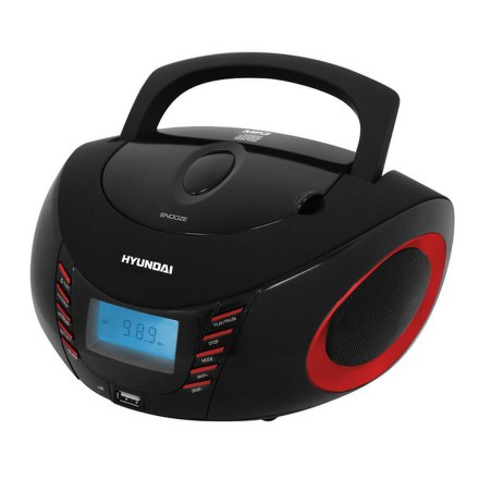 Radiopřijímač Hyundai TRC 182 ADRU3BR, CD/MP3/USB, černý/červený