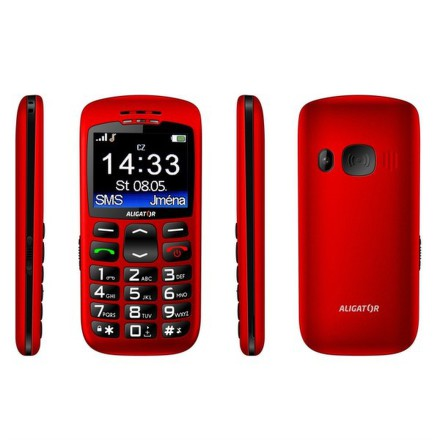 Mobilní telefon Aligator A670 Senior - červený
