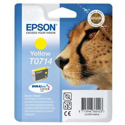Inkoustová náplň Epson T0714, 405 stran originální - žlutá