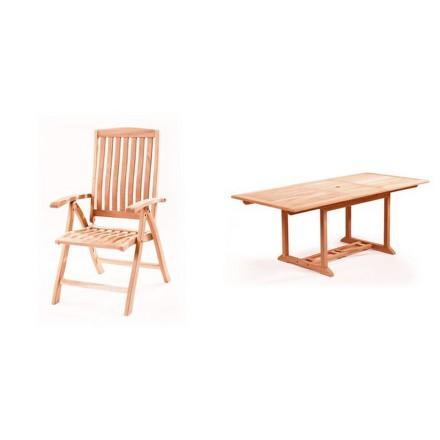 Zahradní nábytek Riwall Kingvan 6+ (6x pol. křeslo Malibu, 1x stůl Solid Jati)