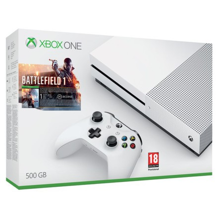 Herní konzole Microsoft Xbox One S 500 GB + Battlefield 1 - bílá